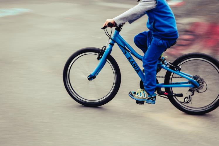 A child riding a bicycle